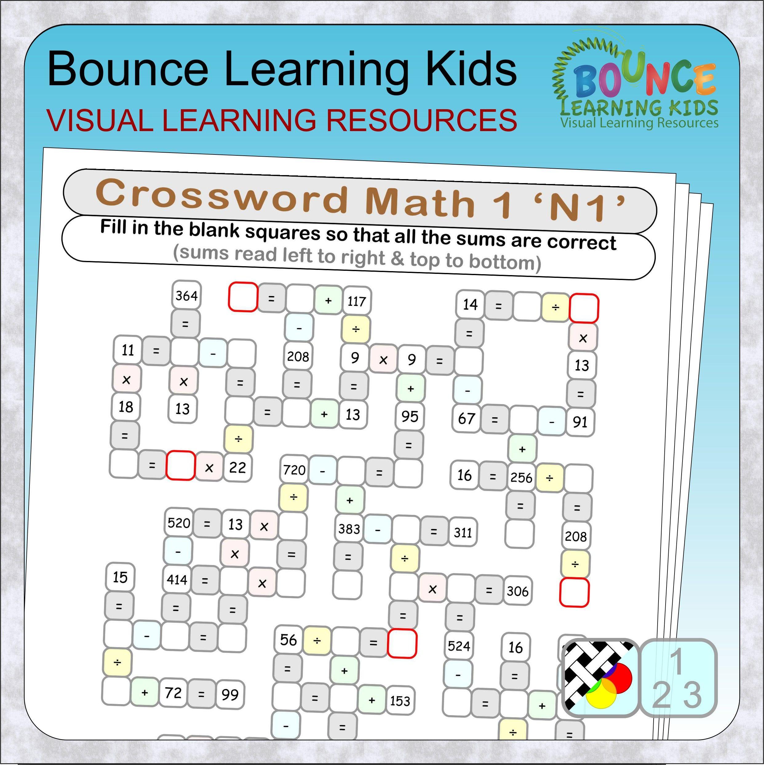Crossword Math 1 Maths Puzzles Maths Sums Learning Math