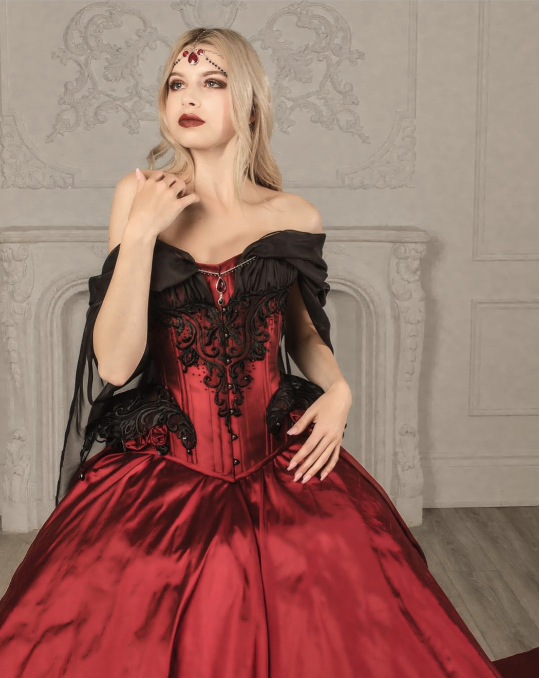 Red silk and black lace with beads and chiffon corset