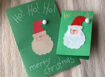 como hacer tarjetas navideñas de santa con niños manualidades