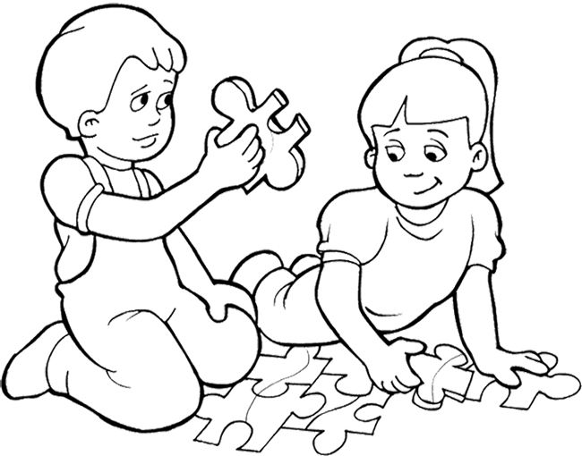 Kids Playing Games Puzzle Coloring Page | Kids Coloring Pages ...