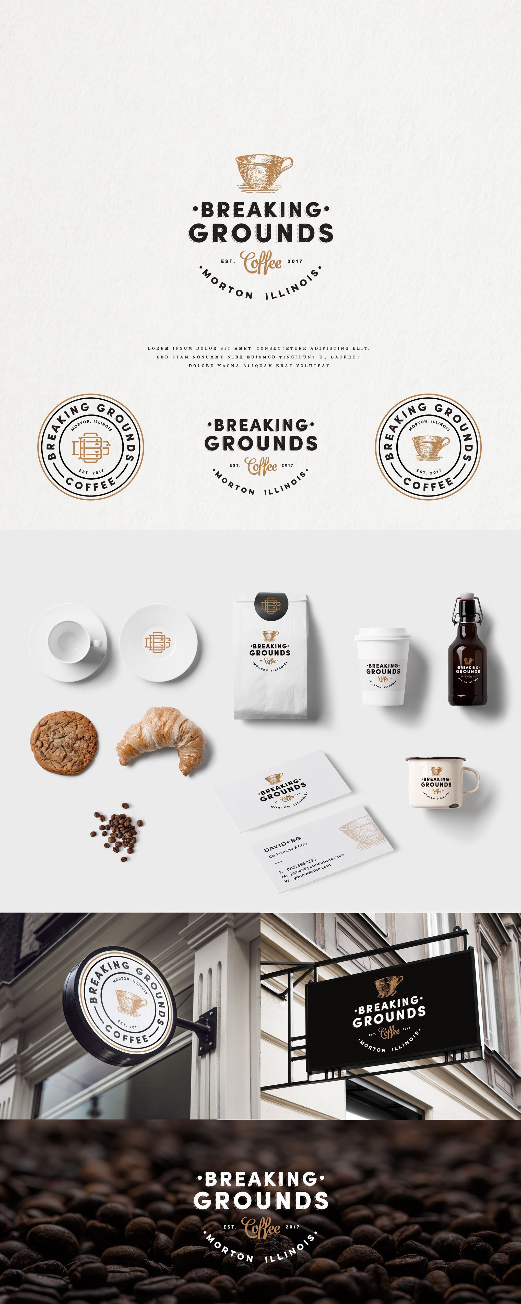 Design 138 By I P S W I C H Breaking Grounds Coffee Logo Great Coffee Without Pretense Coffee Shop Logo Coffee Shop Branding Cafe Logo Design