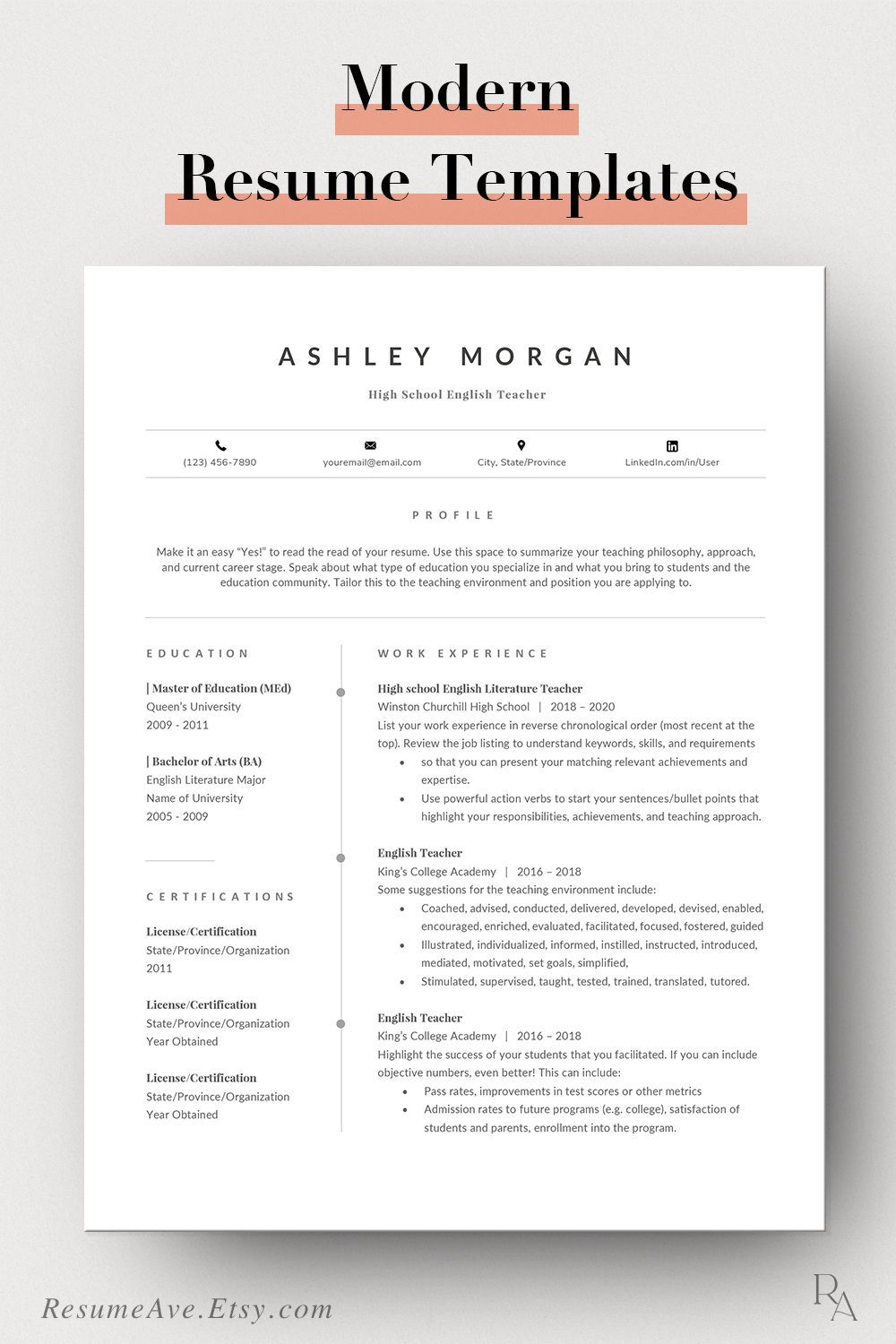 Modern teacher resume template word for instant download