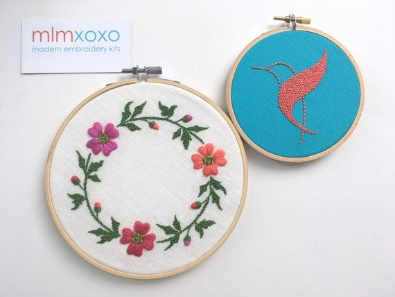Photo of Flower wreath embroidery KIT by mlmxoxo. fashionable stick set. embroidered flower set. DIY package.