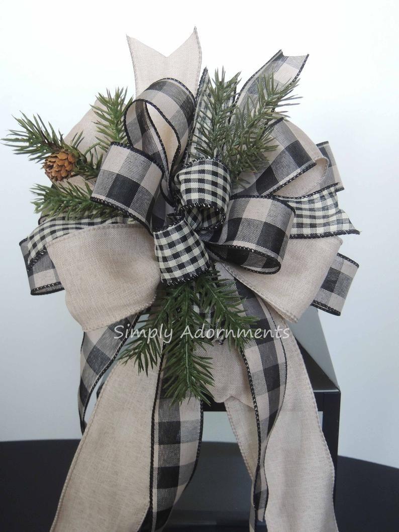 Farmhouse bow Set of 10 Wreath bow Christmas tree bow