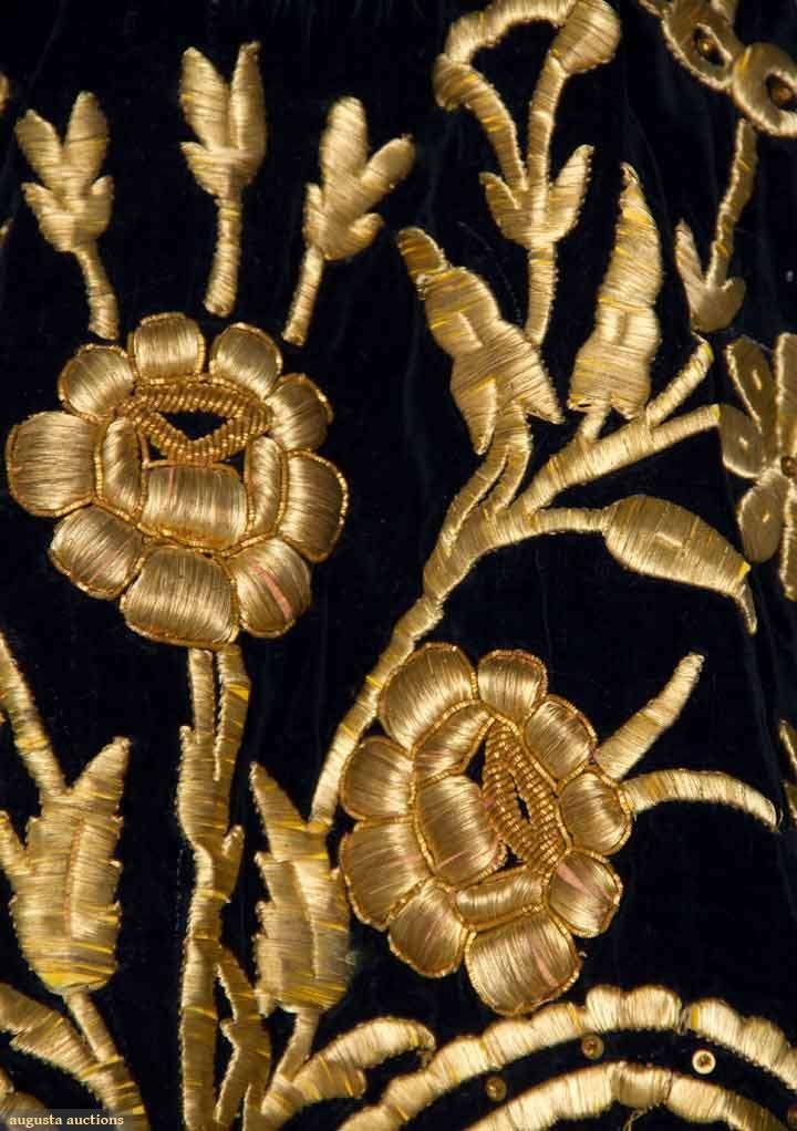 OTTOMAN EMBROIDERED CAFTAN, 19TH C Sapphire blue velvet w/ heavy gold 3-dimensional floral & vine embroidered front & back, V-neck, blue dyed fox fur collar & hem trim. Detail