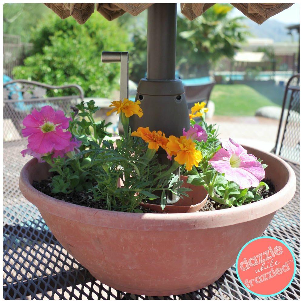 DIY Umbrella Table Flower Planter Outdoor patio diy, Diy