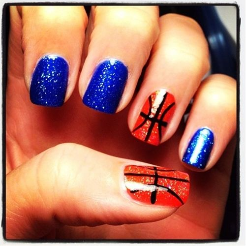 Basketball nails want these for senior night but I want Green instead of  blue - Basketball Nails..perfect Cute Ideas Pinterest Basketball