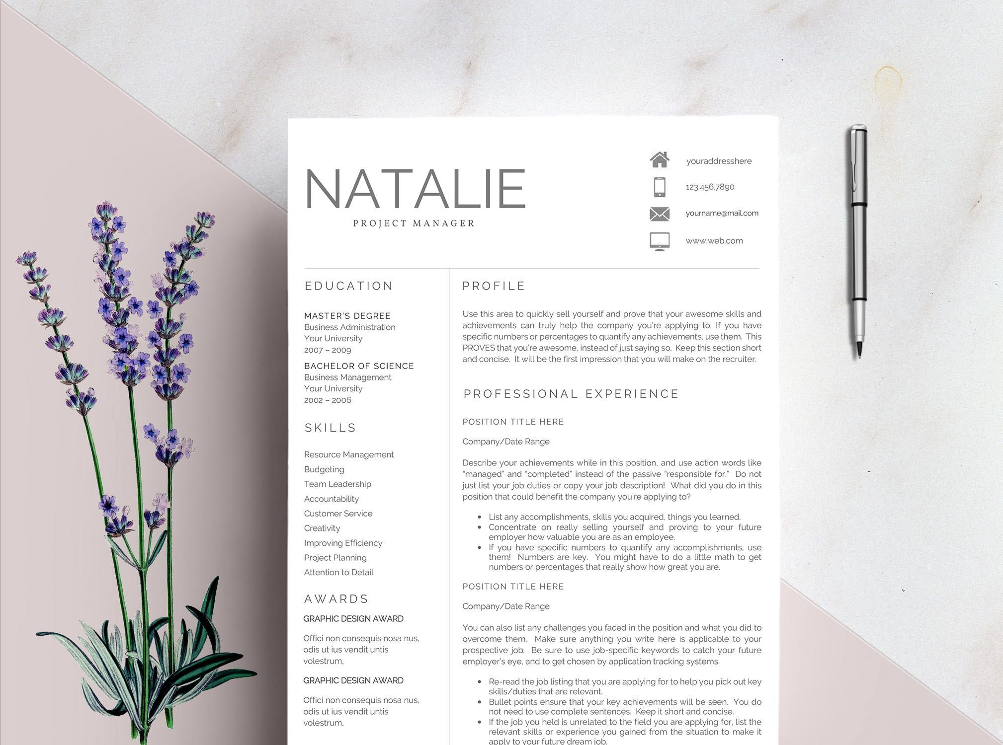 Resume Template For Ms Word  Louise     Page Resume Cover