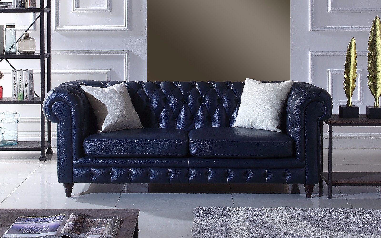 Crawley Leather Chesterfield Sofa Indigo Blue