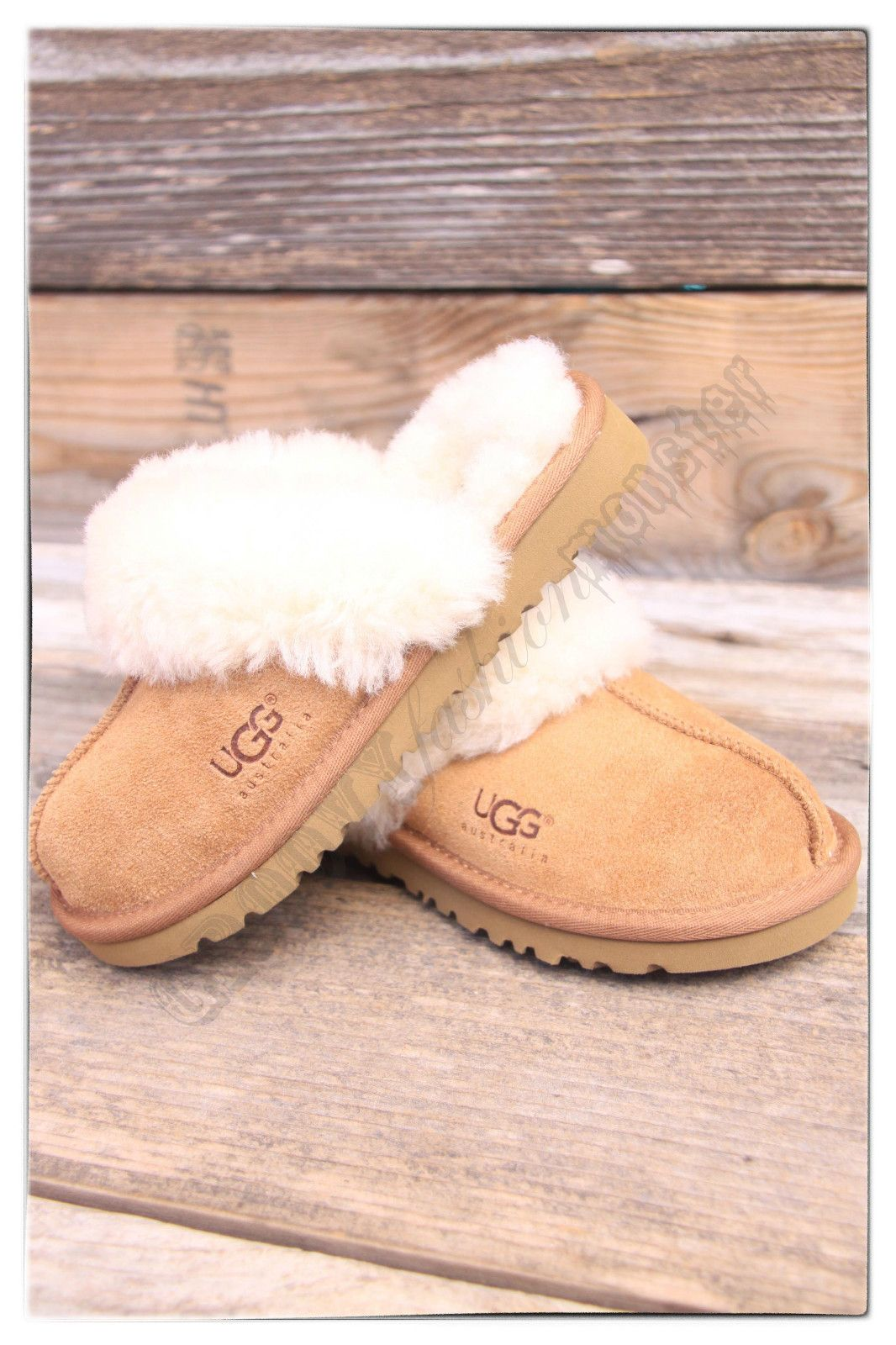 59e96c1f0ea UGG Australia Kids Cozy Chestnut Slide On Sheepskin Slippers | Shoes ...