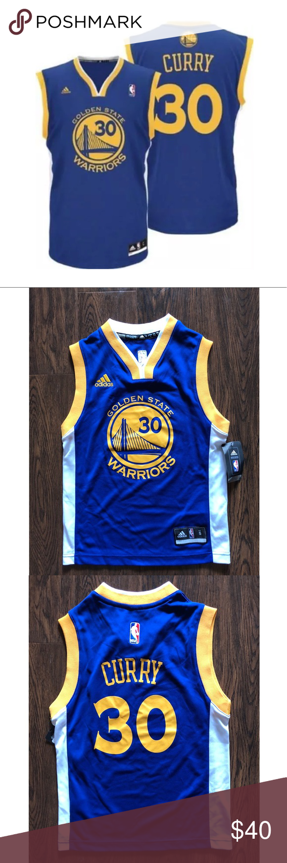 Adidas Golden State Warriors Steph Curry Jersey NWT azul amarillo