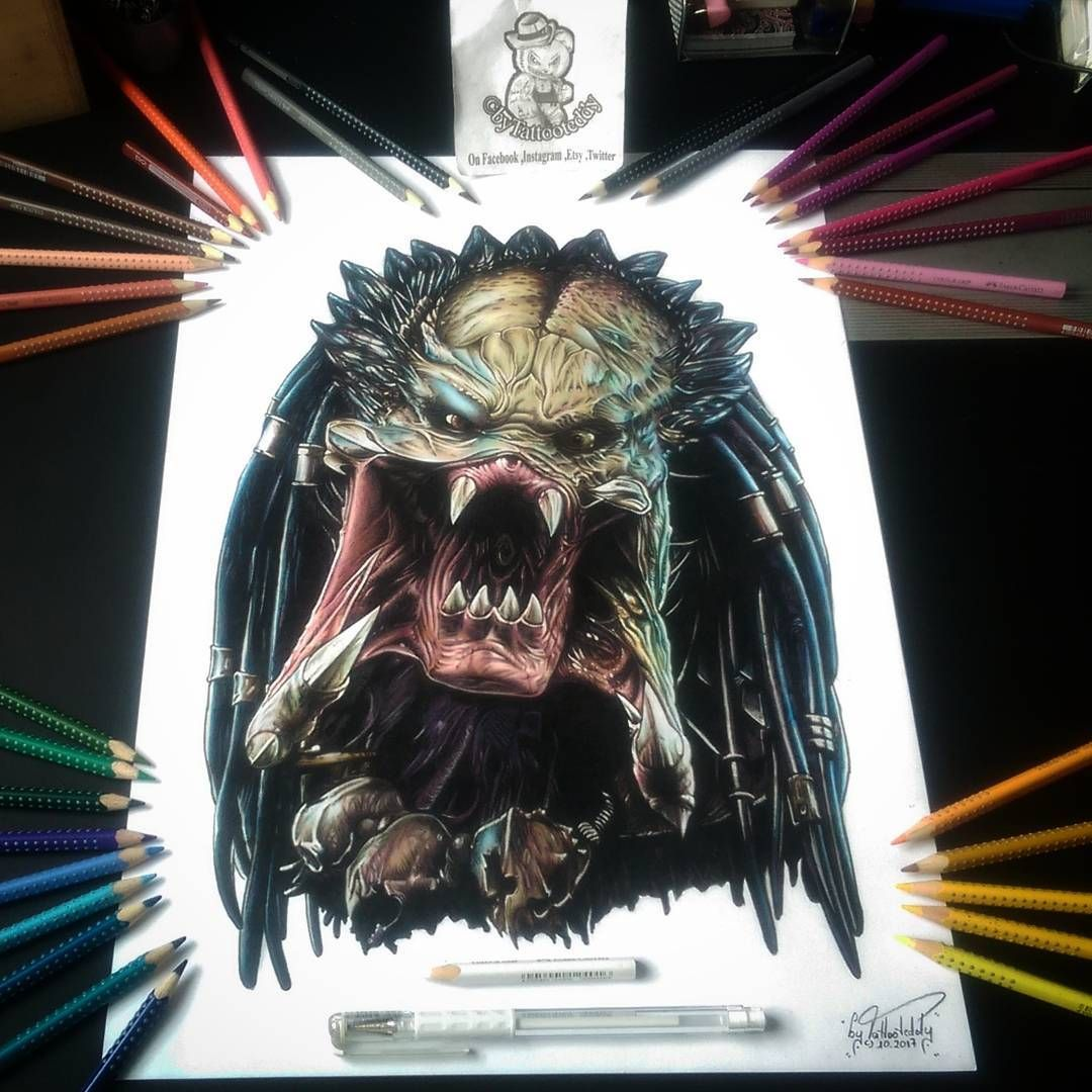 The predator drawing by tattoo teddya