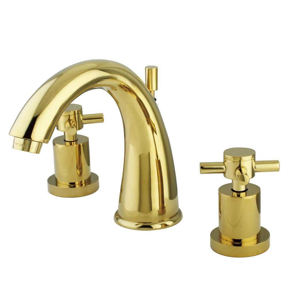 Polished Brass Two Handle Widespread Bathroom Faucet w/ Brass Pop-Up ...