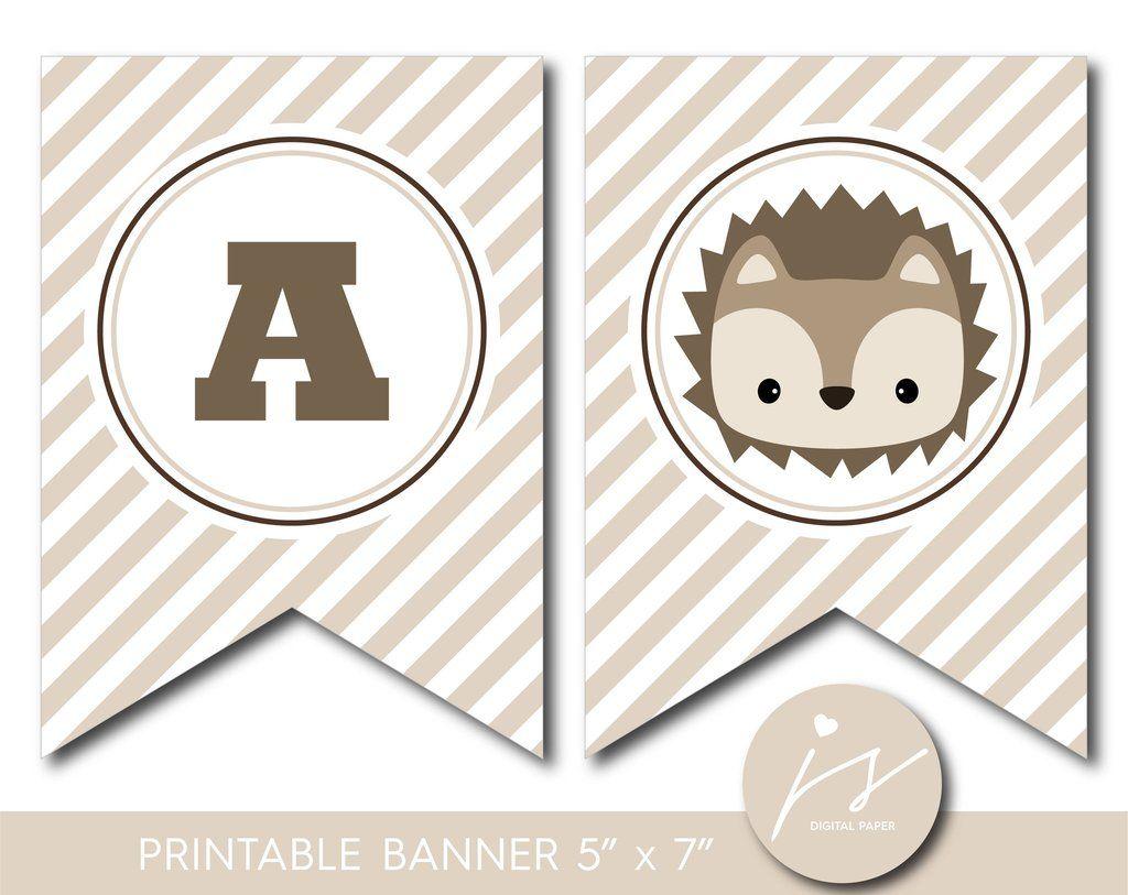 Hedgehog banner, Woodland baby shower banner, Woodland ...