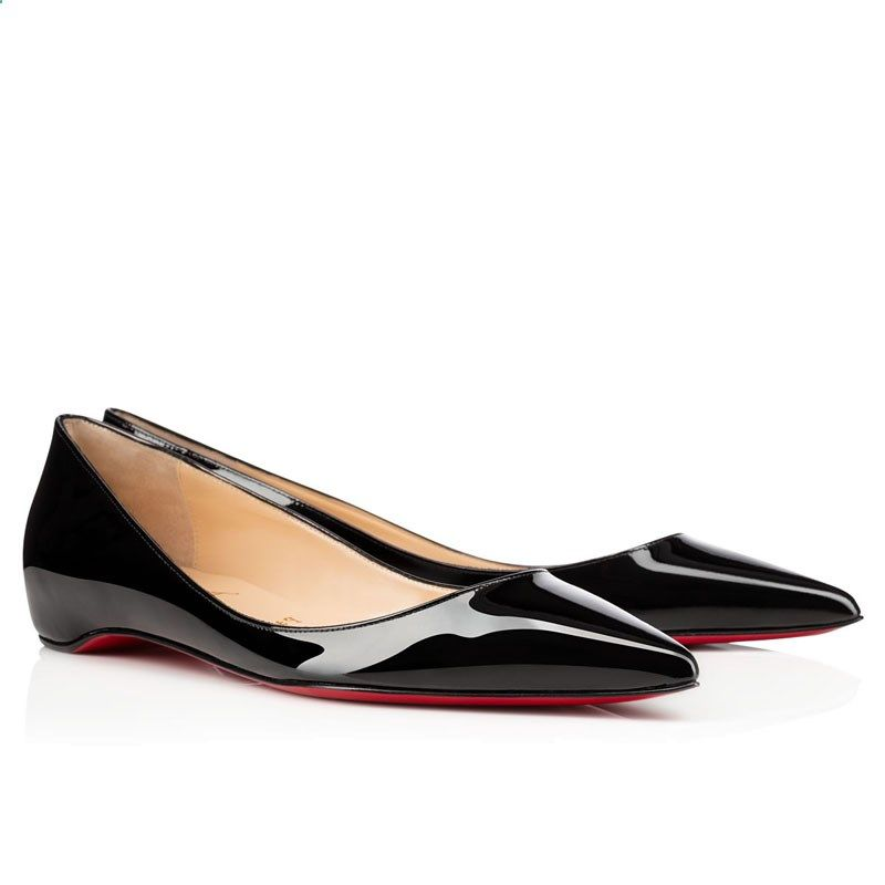 fa49c382f0 Christian Louboutin Rocket Flat Patent Leather Ballerinas Shoes Black