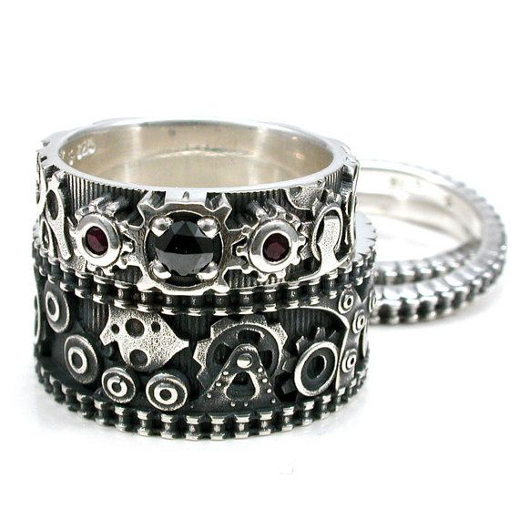 Steampunk Gear Ring Engagement Set Womens Stacking Bike Chain
