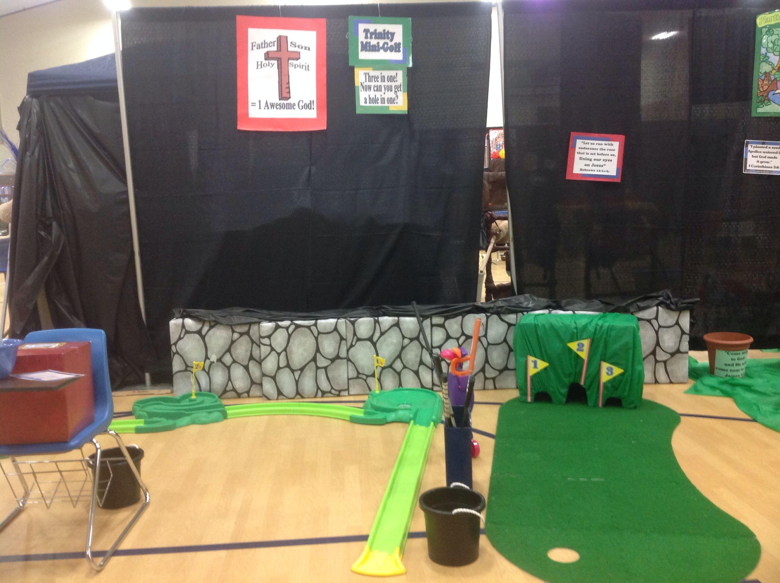 """Trinity Mini Golf"". Game kids play mini golf. Bible"