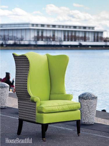 Lovely Duralee Wingback/ House Beautiful Green Chair Giveaway In DC!  Http://www.housebeautiful.com/decorating/colors/go Green  Street Giveaway 0311#slide 1