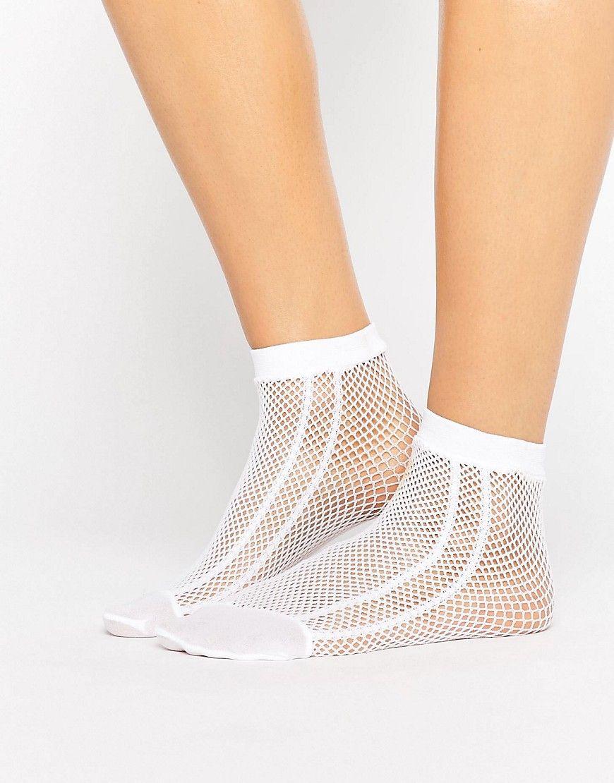 8c9bac193 ASOS Fishnet Side Stripe Ankle Socks In White - White  Socks by ASOS  Collection