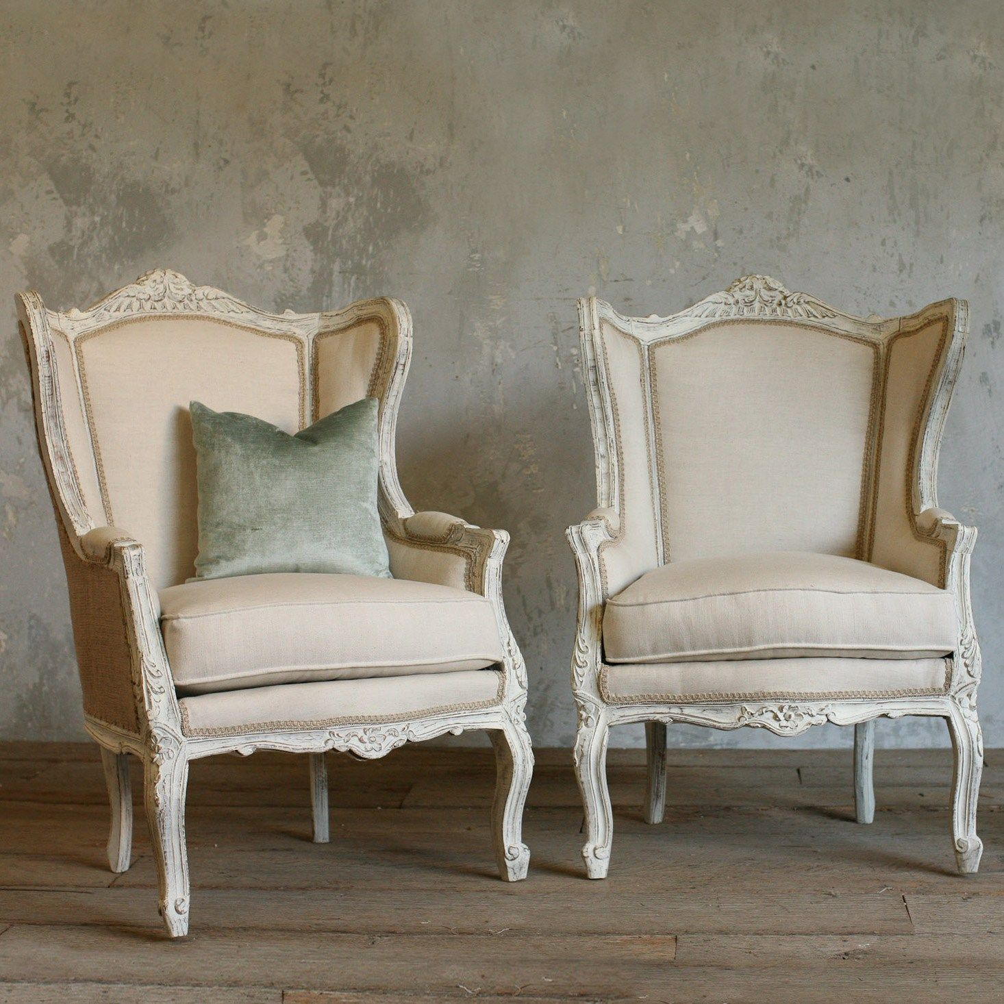 Sillas Country One Of A Kind Vintage Bergeres French Country White Set Of