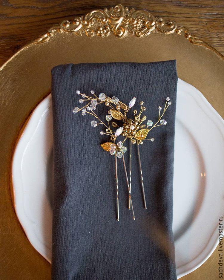 Купить Украшение для волос шпилька-веточка - белый, украшение для волос, свадьба, выпускной, свадебное украшение