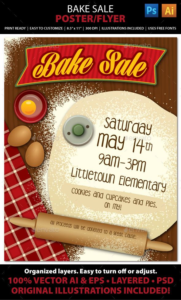 Bake Sale Or Bakery Poster Or Flyer  Bake Sale Bakeries And Cookie