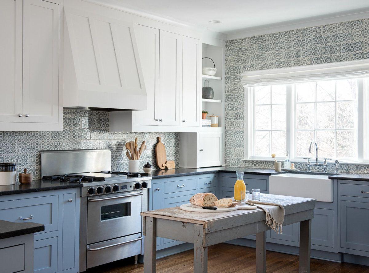 Blue White Kitchen Blue Tiled Backsplash Antique Island Kitchen Remodel Small Glass Upper Cabinets Kitchen Remodel
