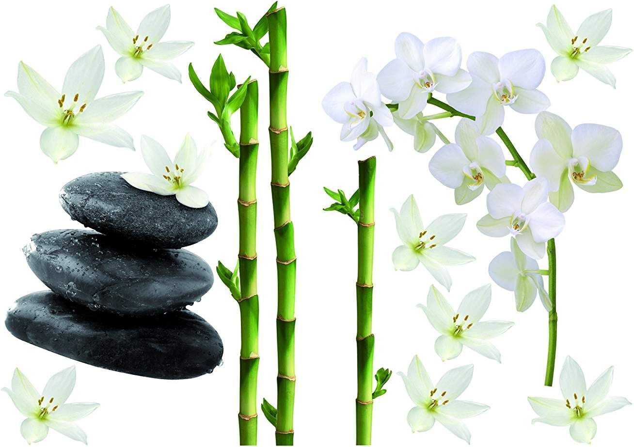 Stickers galets fleur zen 15225
