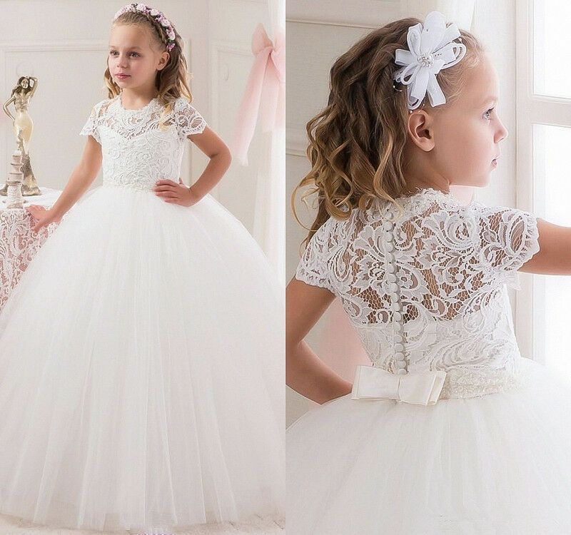 Flower Girl Dress Princess Wedding Bridesmaid Party Formal Christmas Lace Gown