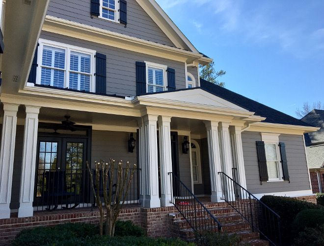 Grey Exterior Color Scheme Siding Paint Color Benjamin Moore 1475 Graystone House Paint Exterior Exterior Paint Colors For House Best House Colors Exterior