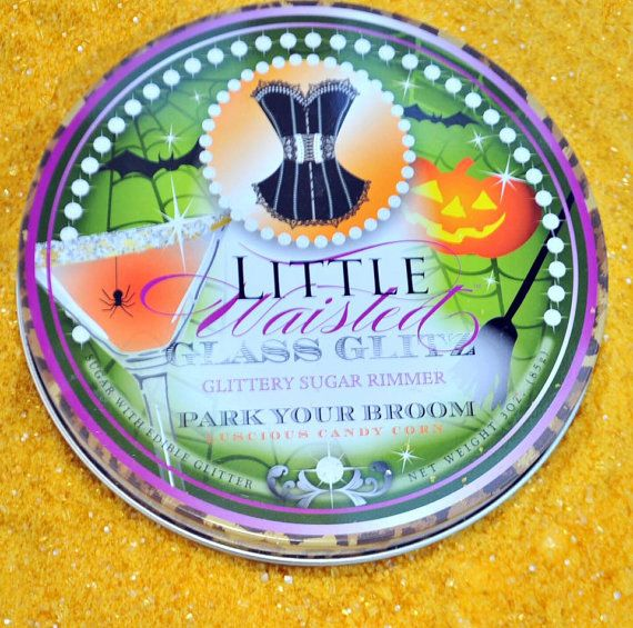 Halloween Cocktail Rim - Park Your Broom Edible Glitter Sugar Candy Corn Flavored Cocktail Rimmer * Glass Glitz by Little Waisted $7.95