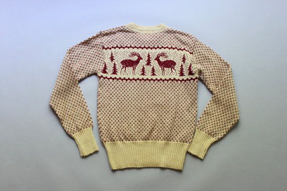 1940s Sweater Vintage 40s Wool Sweater Rugby Knitting Mills Reindeer Sweater Sweaters Reindeer Sweater Wool Sweaters