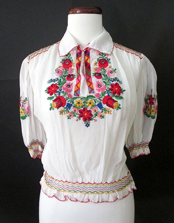 a02171b162c Lovely 1940 s  1950 s Hand Embroidered White by wearitagain Peasant Blouse