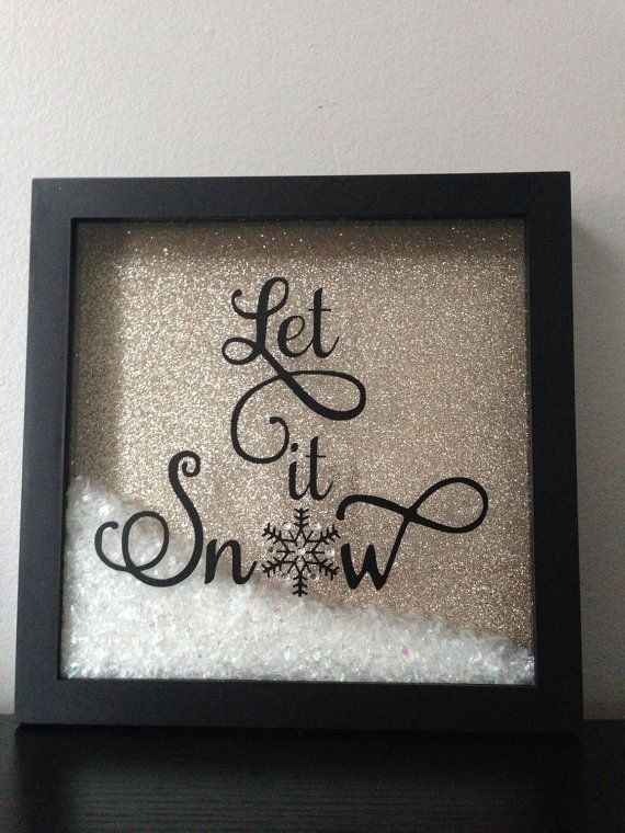 Let it snow christmas shadow box decoration #goldglitterbackground Let it snow, let it snow, let it snow!!!Fun and festive Christmas decor! The frame is 8x8 and contains a light gold glitter background with cute, loose imitation snow with vinyl lyrics on the frame glass. The background color can be modified to different colors so please send me a message if you have something else in mind #goldglitterbackground