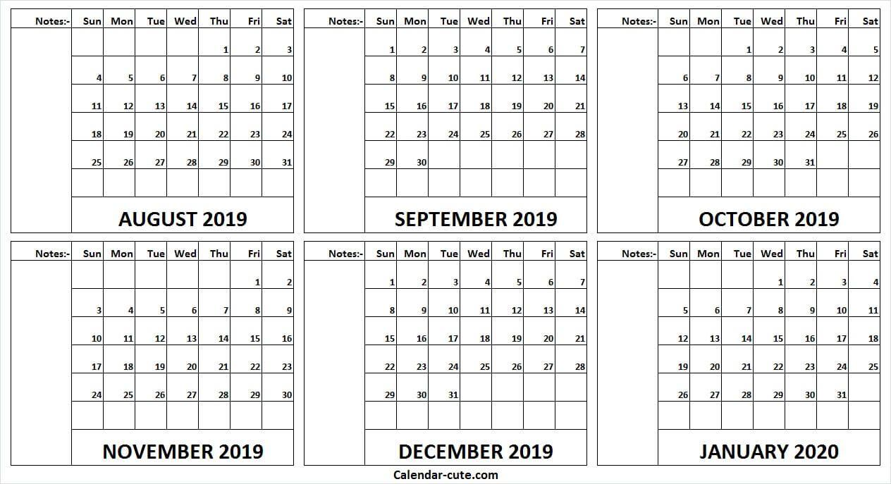 Print Free August 2019 January 2020 Calendar Yearly Calendar