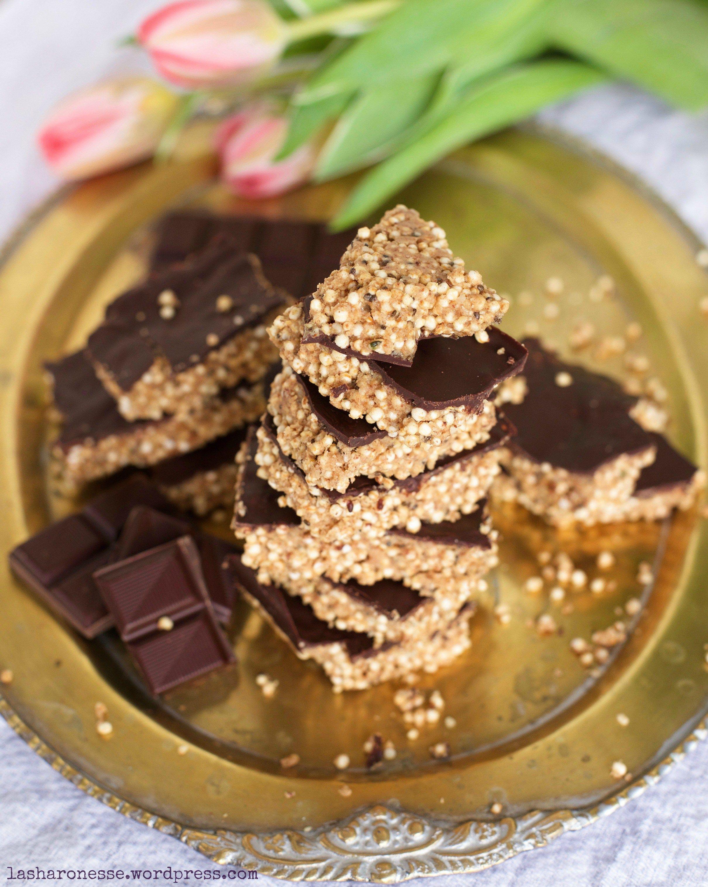 Salzig Susse Erdnussbutter Quinoa Riegel Mit Schokolade Vegan