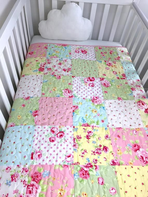 Photo of Items similar to Baby girl Quilt, Floral baby bedding, Girl crib Quilt, Baby girl gift, Floral crib Quilt, Pink nursery Quilt, Baby girl crib Quilt. on Etsy