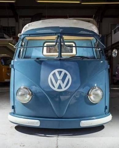 T1 Blue Opened Front Windows Volkswagen Kombi Volkswagen Kombi