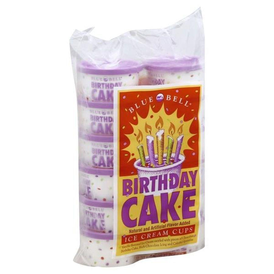 Blue bell creameries birthday day cake ice cream cup ice