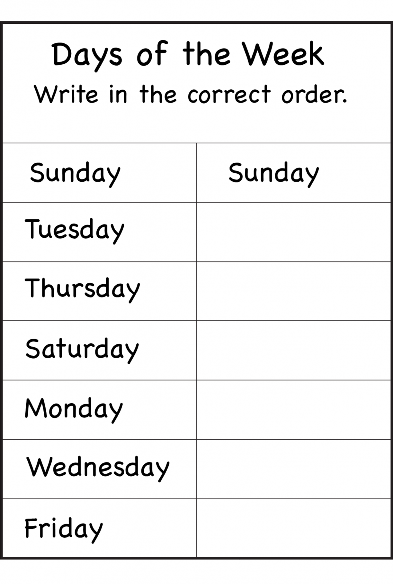 Free Days Of The Week Worksheet Order 1st Grade Worksheets