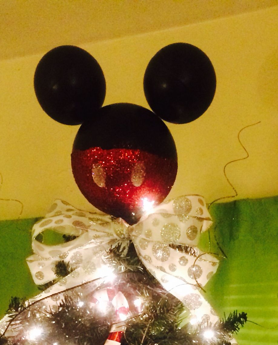 Used Disney Christmas Decorations: Our Mickey Mouse Tree Topper. Used Three Styrofoam Balls