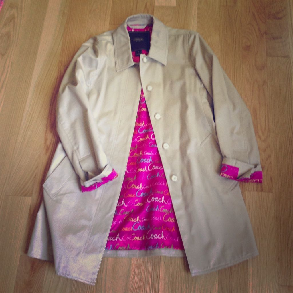 Coach Trench Coat With Pink Lining