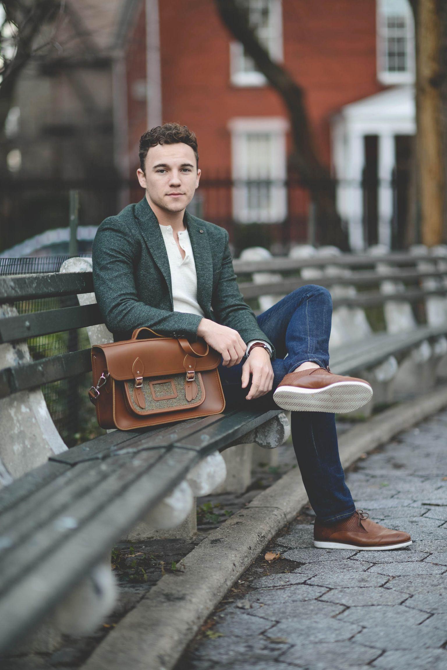 Zara Blazer (similar) / Vince Henley / 3×1 Jeans / Rachel Comey Shoes / Cambridge Satchel Co. Bag / Caravelle New York Watch