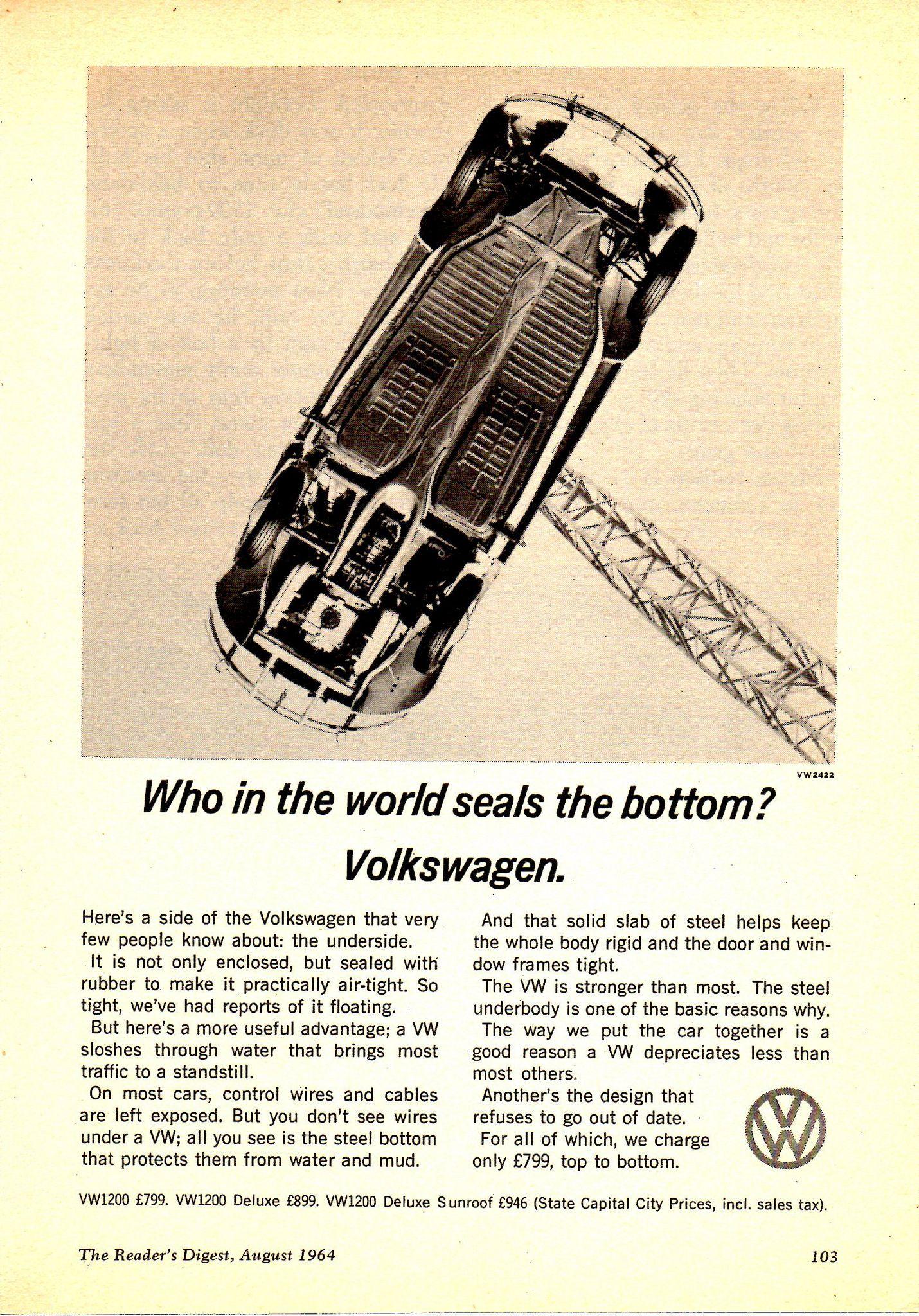 1964 Volkswagen Beetle Who In The World Seals The Bottom Aussie Original Magazine Advertisement Volkswagen Volkswagen Beetle Vintage Volkswagen Beetle
