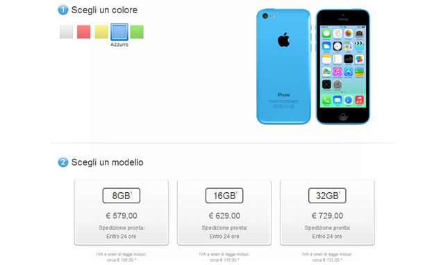 Il costoso iPhone 5C da 8 GB è disponibile anche in Italia