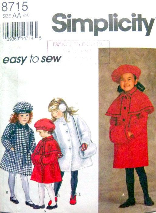 Simplicity 8715, Size 2 to 4, Child\'s Lined Coat, Muff & Hat ...