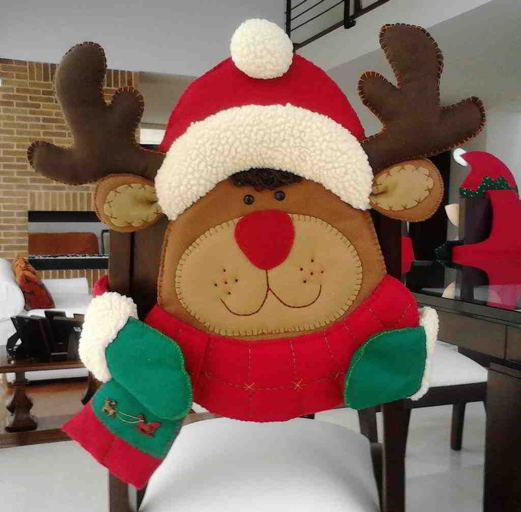 Molde cubresillas reno navidad manualidades navidad - Renos de fieltro ...