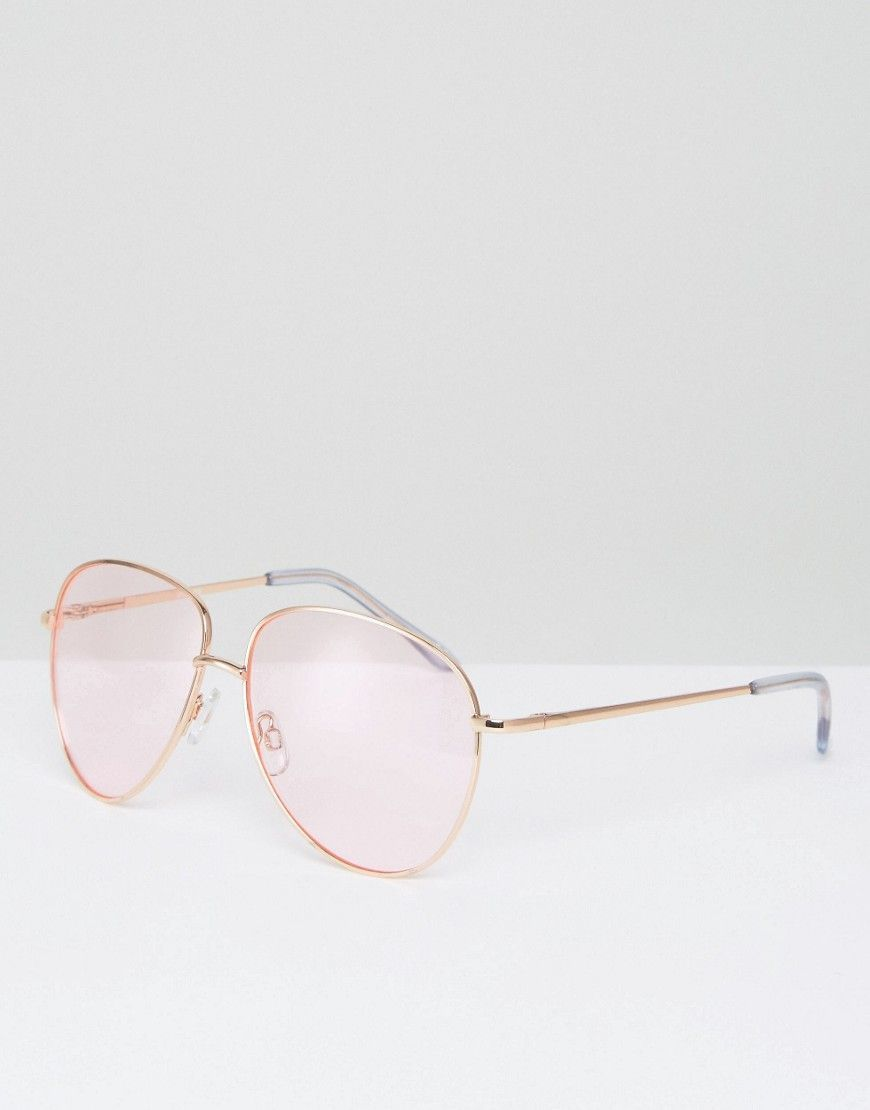 2698d9e6f ASOS Metal Aviator Sunglasses in Rose Gold with Pink Colored Lens - Go