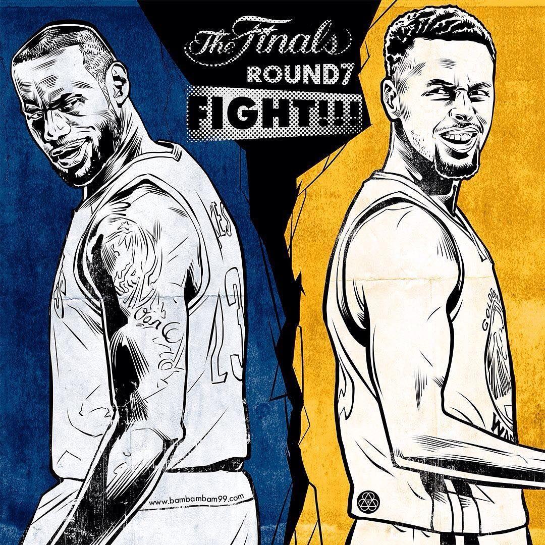 3cb8e408ed89 Cavaliers vs Warriors Game 7 Fight Illustration