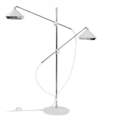Shear Floor Lamp Chrome & Matte Old English White | Heals Lighting ...